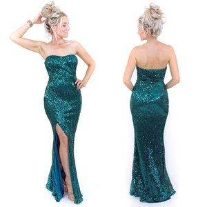 Green Sequin Pageant Prom Homecoming Formal Dress